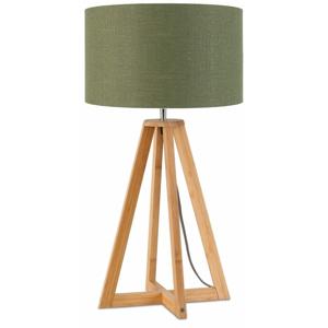 Stolová lampa so zeleným tienidlom a konštrukciou z bambusu Good&Mojo Everest