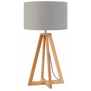Stolová lampa so svetlosivým tienidlom a konštrukciou z bambusu Good&Mojo Everest