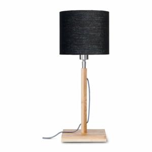 Stolová lampa s čiernym tienidlom a konštrukciou z bambusu Good&Mojo Fuji