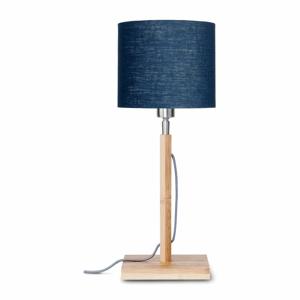 Stolová lampa s modrým tienidlom a konštrukciou z bambusu Good&Mojo Fuji