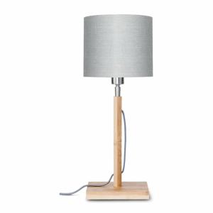 Stolová lampa so svetlosivým tienidlom a konštrukciou z bambusu Good&Mojo Fuji