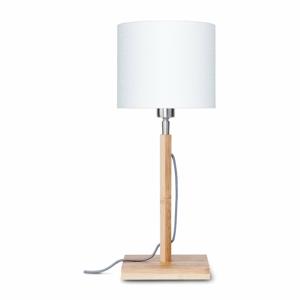 Stolová lampa s bielym tienidlom a konštrukciou z bambusu Good&Mojo Fuji