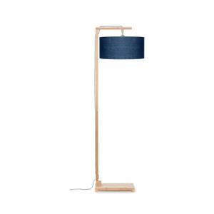 Stojacia lampa s modrým tienidlom a konštrukciou z bambusu Good&Mojo Himalaya