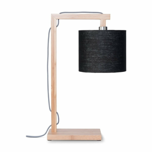 Stolová lampa s čiernym tienidlom a konštrukciou z bambusu Good&Mojo Himalaya
