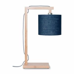 Stolová lampa s modrým tienidlom a konštrukciou z bambusu Good&Mojo Himalaya