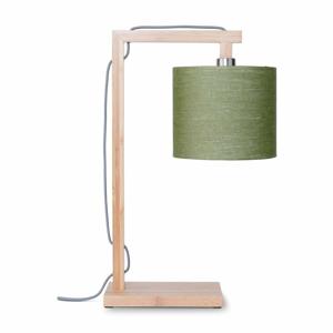 Stolová lampa so zeleným tienidlom a konštrukciou z bambusu Good&Mojo Himalaya
