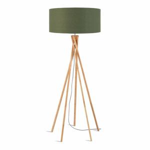 Stojacia lampa so zeleným tienidlom a konštrukciou z bambusu Good&Mojo Kilimanjaro