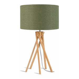 Stolová lampa so zeleným tienidlom a konštrukciou z bambusu Good&Mojo Kilimanjaro