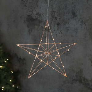 Medená svietiaca LED dekorácia Star Trading Line, výška 38 cm
