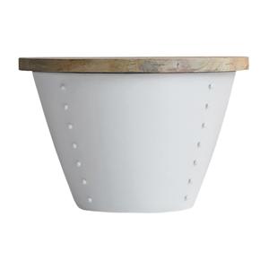 Biely príručný stolík s doskou z mangového dreva LABEL51 Indi,⌀46 cm
