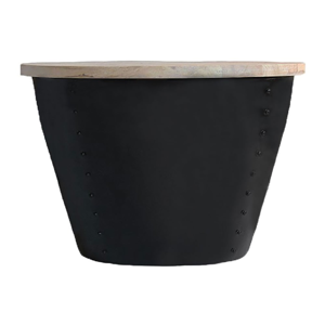 Čierny príručný stolík s doskou z mangového dreva LABEL51 Indi,⌀60 cm