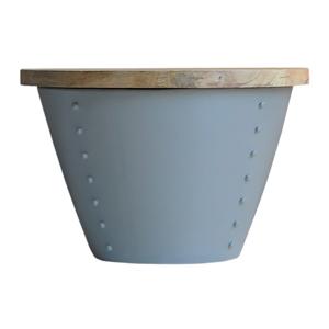 Sivý príručný stolík s doskou z mangového dreva LABEL51 Indi,⌀60 cm