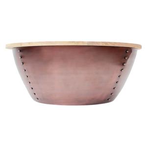 Príručný stolík v medenej farbe s doskou z mangového dreva LABEL51 Indi,⌀38 cm