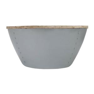 Sivý príručný stolík s doskou z mangového dreva LABEL51 Indi,⌀80 cm
