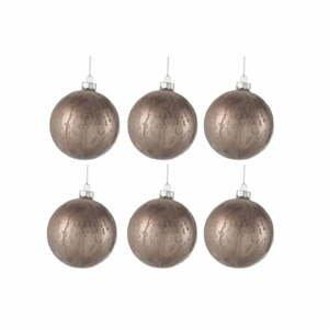 Sada 6 sklenených vianočných ozdôb J-Line Anneli, ⌀ 8 cm
