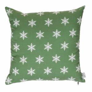 Zelená vianočná obliečka na vankúš Apolena Shine Snow, 43 x 43 cm
