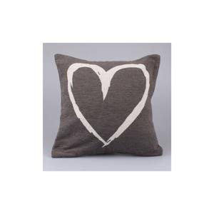 Sivý poťah na vankúš Dakls Heart, 40 x 40 cm