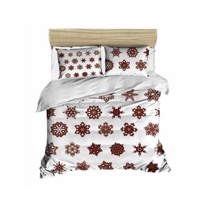 Sada obliečky a plachty na dvojposteľ Christmas Snowflakes White, 200×220 cm