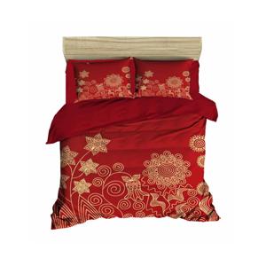 Sada obliečky a plachty na dvojposteľ Flowers Red, 200×220 cm