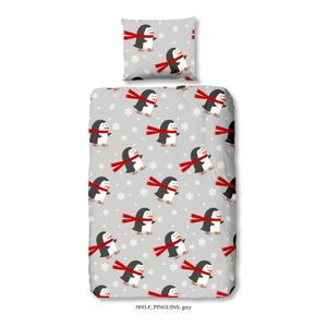 Detské bavlnené obliečky na jednolôžko Muller Textiels Pinguins, 140×200 cm
