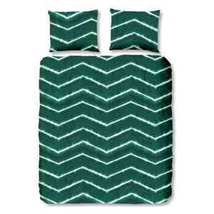 Tmavozelené obliečky na jednolôžko z bavlny Good Morning Batik, 140 × 200 cm