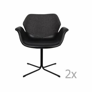 Sada 2 čierno-sivých stoličiek s opierkami Zuiver Nikki