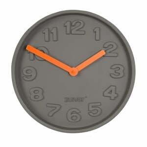 Betónové nástenné hodiny s oranžovými ručičkami Zuiver Concrete