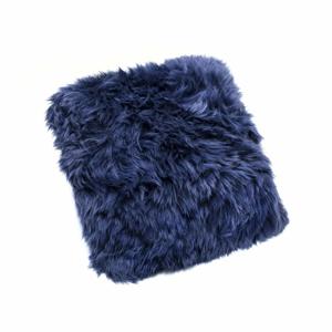 Tmavomodrý vankúš z ovčej kožušiny Royal Dream Sheepskin, 45×45 cm