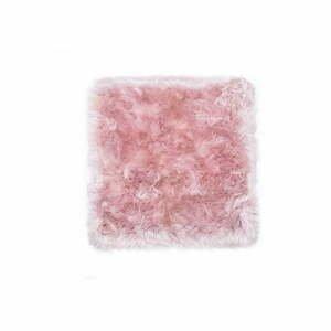Ružový koberec z ovčej kožušiny Royal Dream Zealand, 70×70 cm