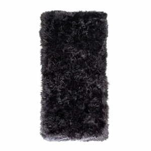 Čierny koberec z ovčej kožušiny Royal Dream Zealand, 140×70 cm