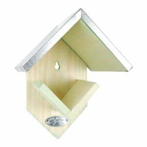 Drevené kŕmidlo so zinkovou strechou Esschert Design, výška 19,5 cm