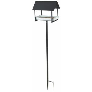 Antracitovosivá kovová vtáčia búdka so zapichovadlom Esschert Design, výška 126 cm