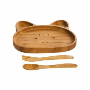 Set detského taniera v tvare medvídka a príboru z bambusového dreva Bambum
