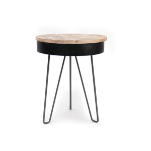 Čierny odkladací stolík s drevenou doskou LABEL51 Saria