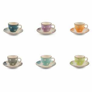 Sada 6 farebných šálok na espresso s tanierikom Villa d'Este Tazzine
