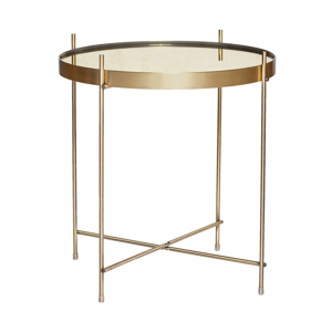Odkladací stolík zlatej farby so zrkadlovou doskou Hübsch Dorotea, ø 43 cm