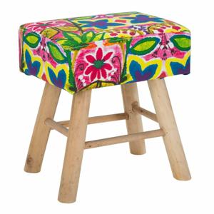 Stolička s podnožou z kaučukového dreva Mauro Ferretti Hippie, 37 x 42 cm