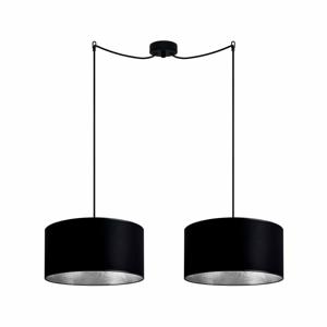 Čierne dvojité stropné svietidlo s detailmi v striebornej farbe Sotto Luce MIKA Elementary