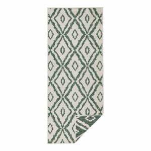 Zeleno-biely vonkajší koberec Bougari Rio, 80 x 350 cm