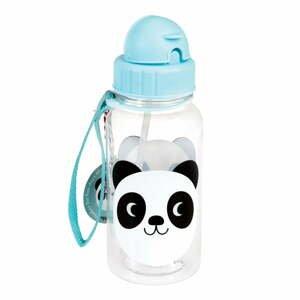 Modrá detská fľaša so slamkou Rex London Miko The Panda, 500ml