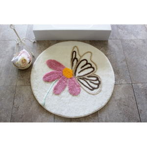 Kúpeľňová predložka s motívom kvetiny Alessia, Ø90cm