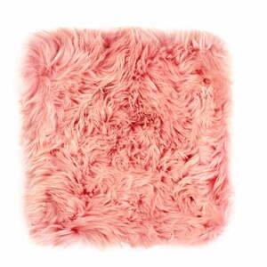Ružový sedák z ovčej kožušiny na jedálenskú stoličku Royal Dream, 40×40 cm