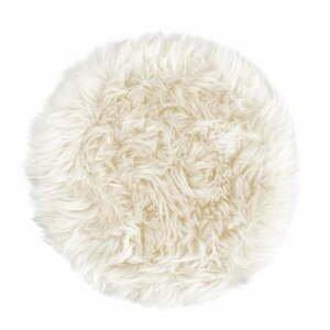 Biely sedák z ovčej kožušiny na jedálenskú stoličku Royal Dream, Ø 35 cm