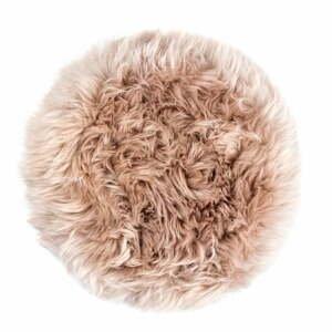 Béžový sedák z ovčej kožušiny na jedálenskú stoličku Royal Dream, Ø35 cm