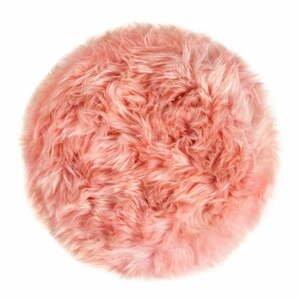 Ružový sedák z ovčej kožušiny na jedálenskú stoličku Royal Dream, Ø35 cm