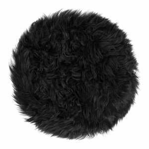 Čierny sedák z ovčej kožušiny na jedálenskú stoličku Royal Dream, Ø35 cm