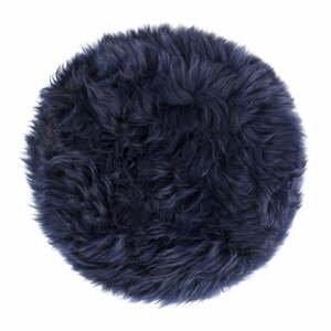 Tmavomodrý sedák z ovčej kožušiny na jedálenskú stoličku Royal Dream, Ø 35 cm