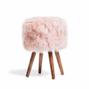 Stolička s ružovým sedadlom z ovčej kožušiny Royal Dream, ⌀30 cm