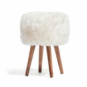 Stolička s bielym sedadlom z ovčej kožušiny Royal Dream, ⌀ 30 cm
