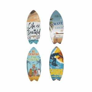 Sada 4 nástenných kovových dekorácií Geese Surfboard